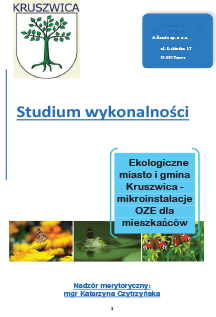 Studium wykonalnoÿci Kruszwica OZE